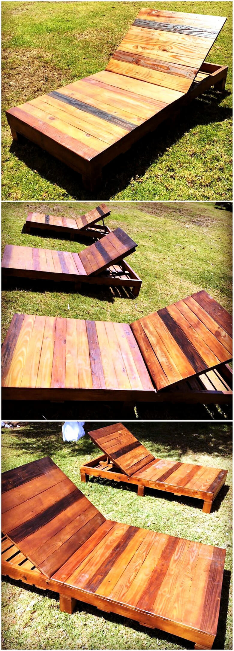 reclaimed wood pallet sun loungers
