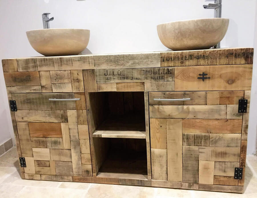 recycled pallet rustic sink