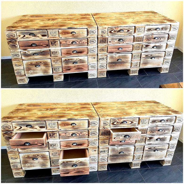 recycled pallets chest of drawers