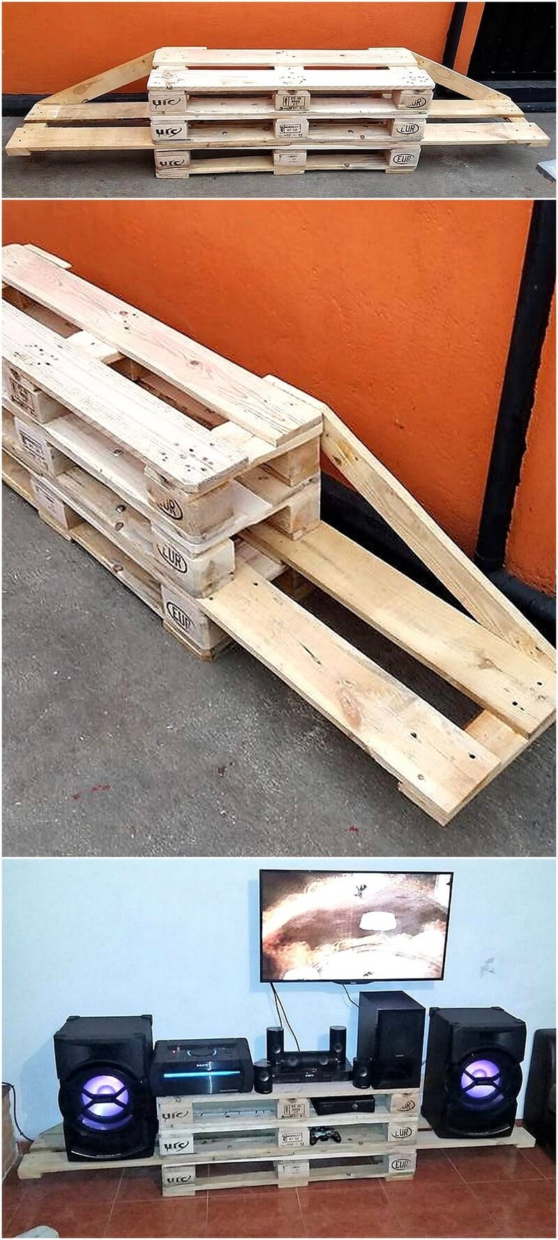 recycled pallets tv stand 1