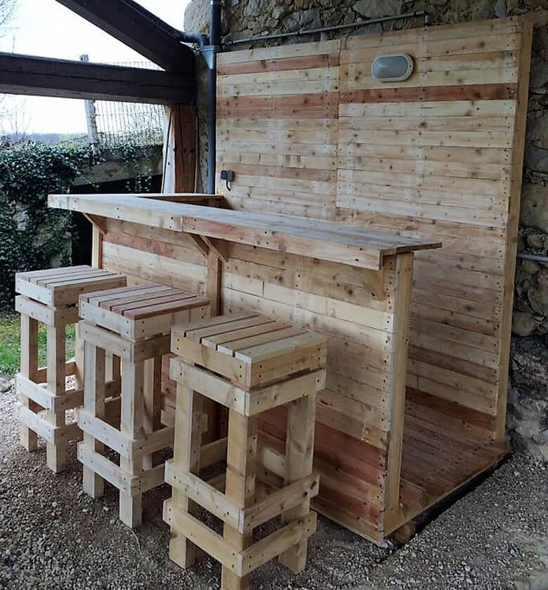 20 used pallet projects and ideas pallet ideas for Wood outdoor bar ideas