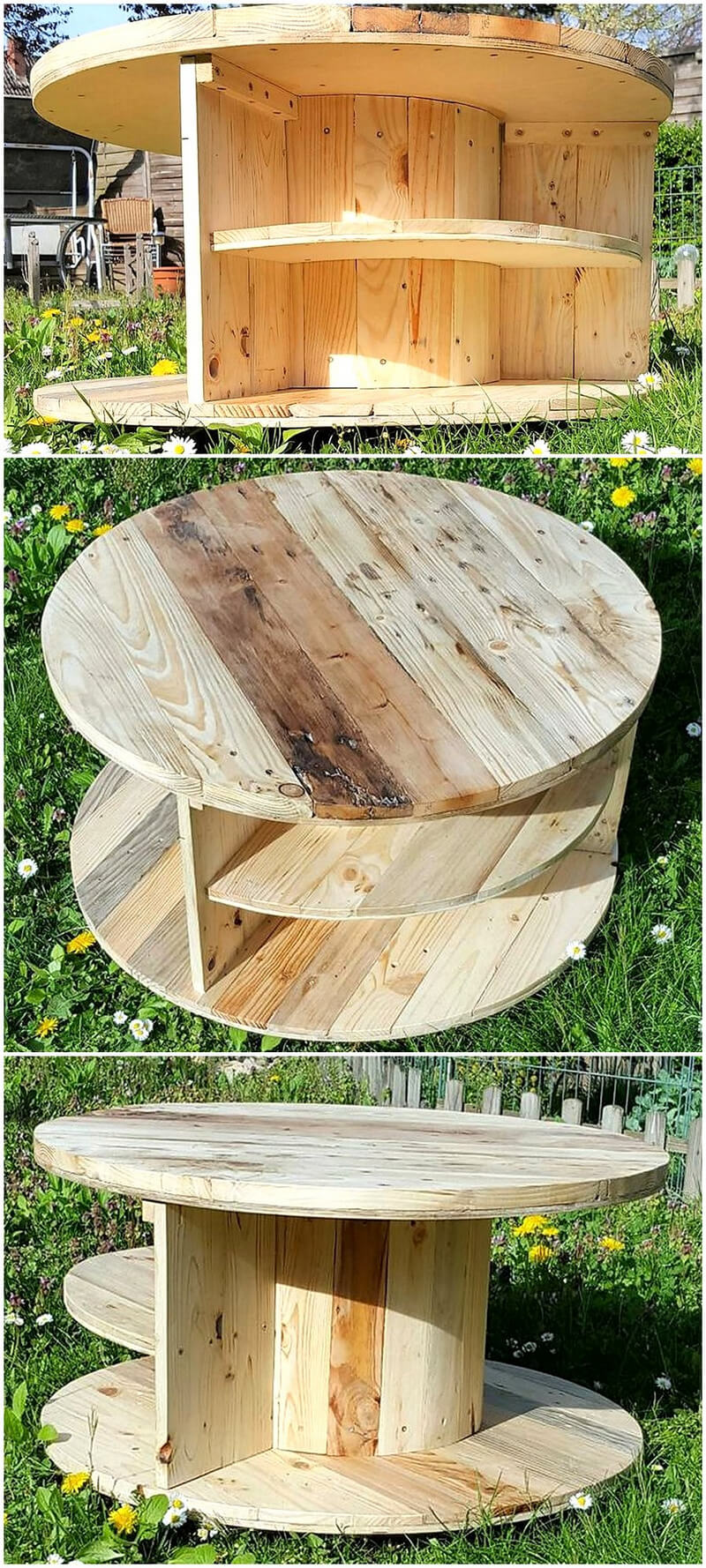 repurposed pallet cable reel patio table