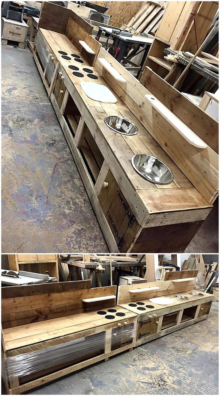 repurposed wooden pallet kitchen cabinet