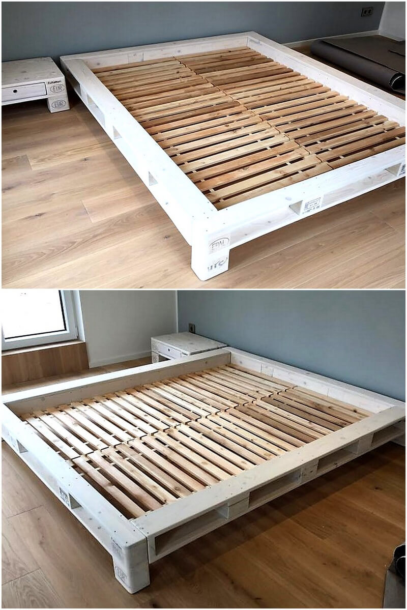 Creative ideas with used shipping wood pallets pallet ideas for Pallet bed frame with side tables
