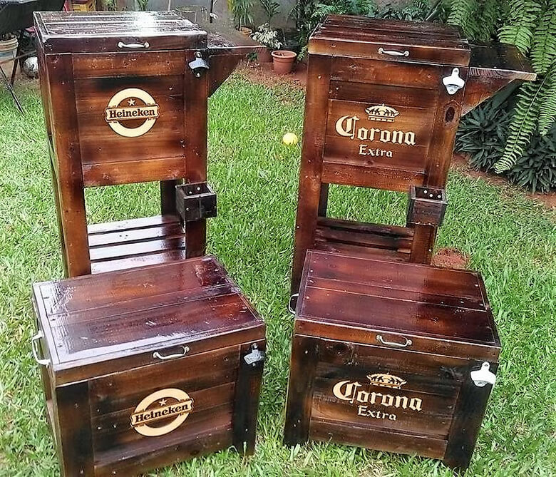 rustic pallet coolers