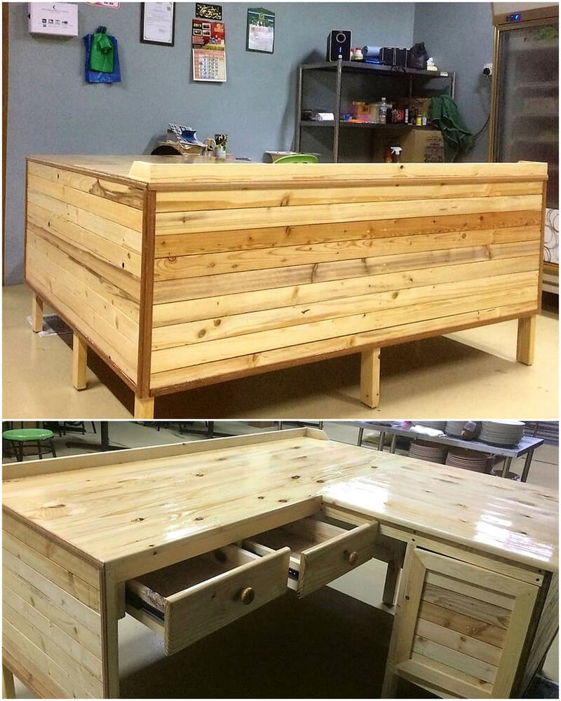 wood pallet counter desk