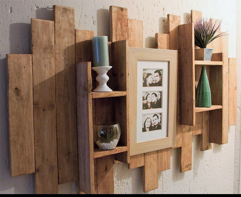 wood pallet decor shelf art