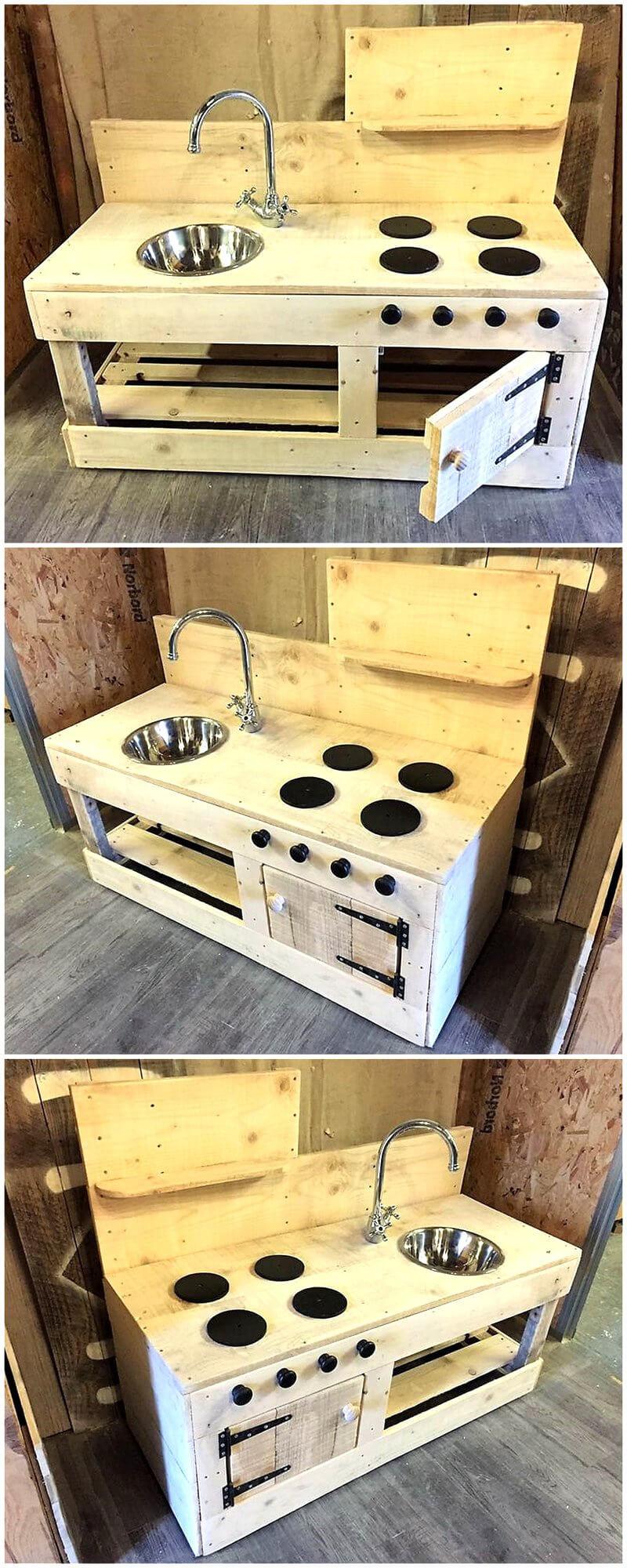 wood pallet kids mud kitchen