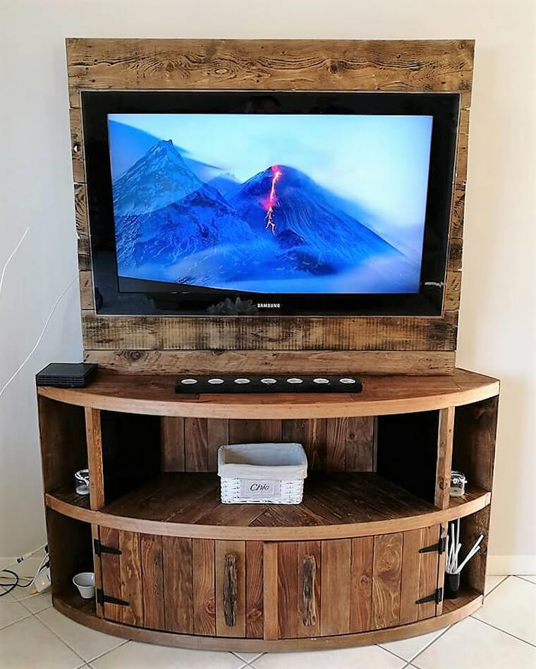 Tv Stand Designs Wooden : Diy wood pallet tv stand plan ideas