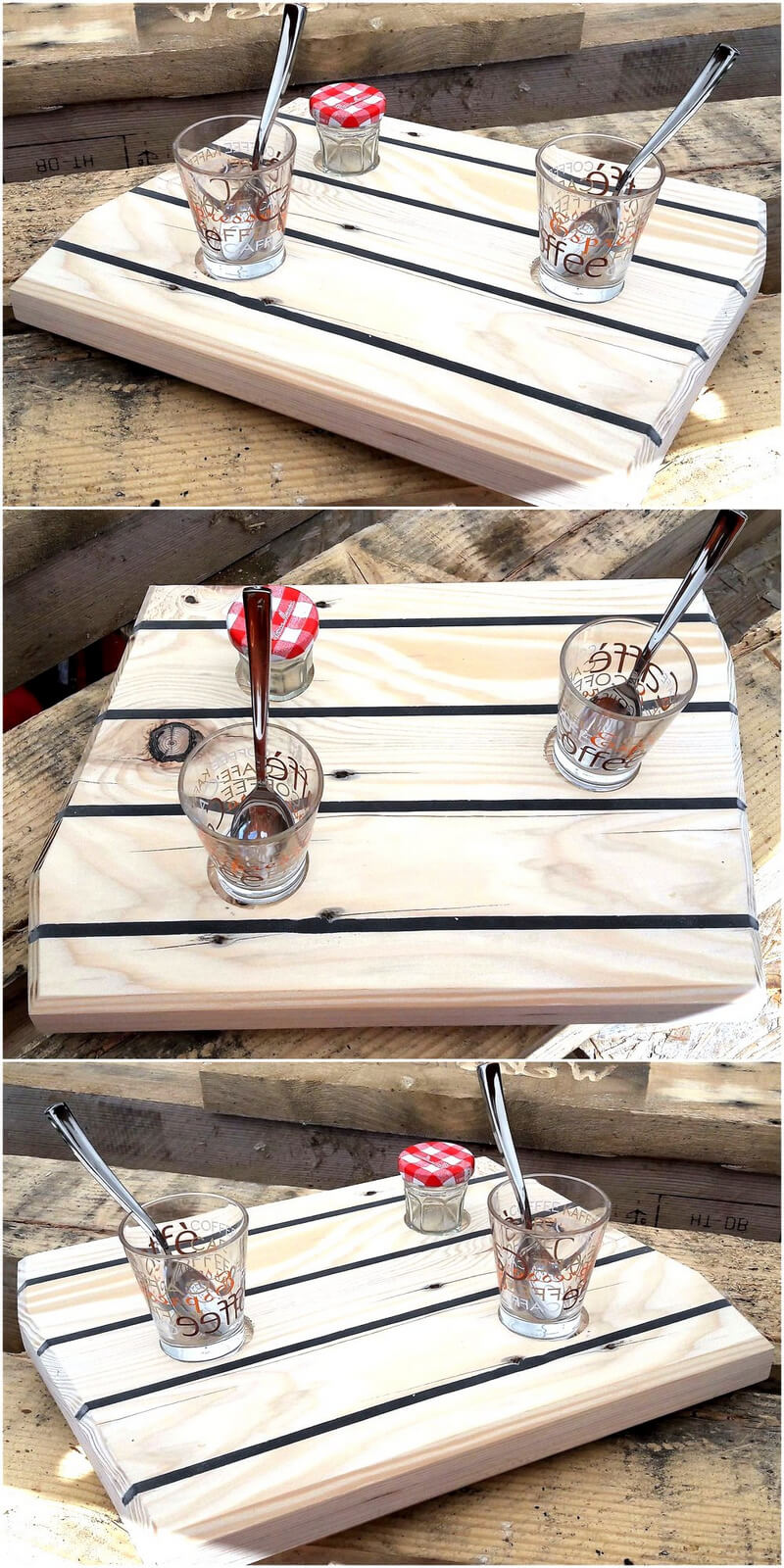wood pallets serving tray