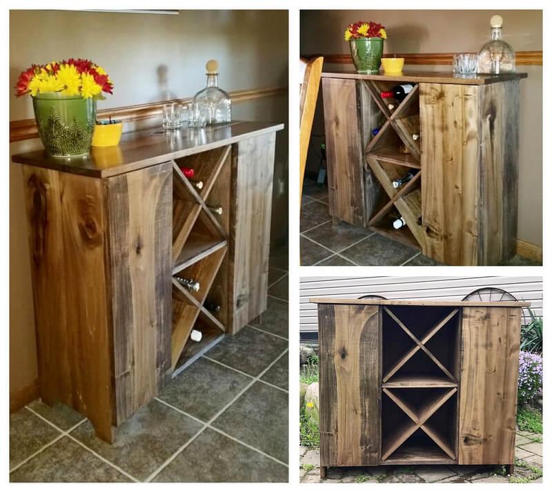 wooden pallet bar cabinet