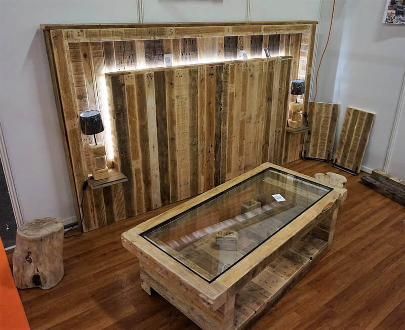 wooden pallet bed headboard plan