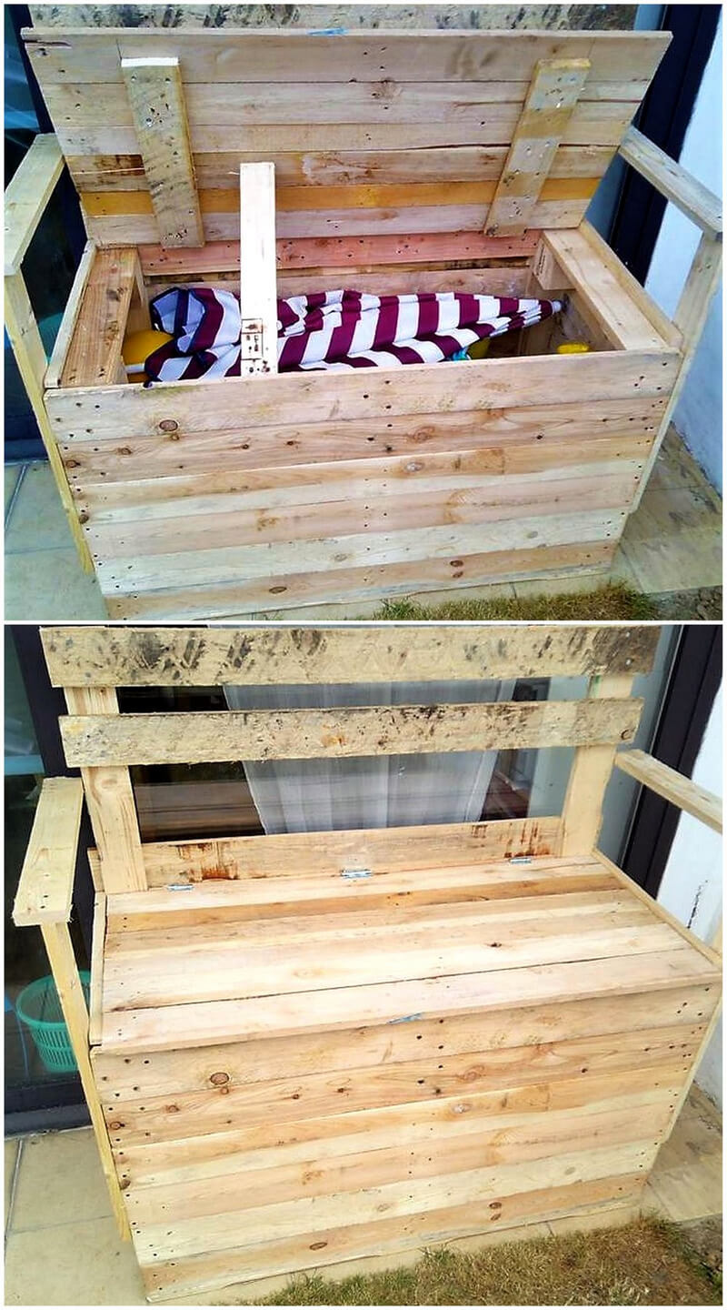wooden pallet bench with storage