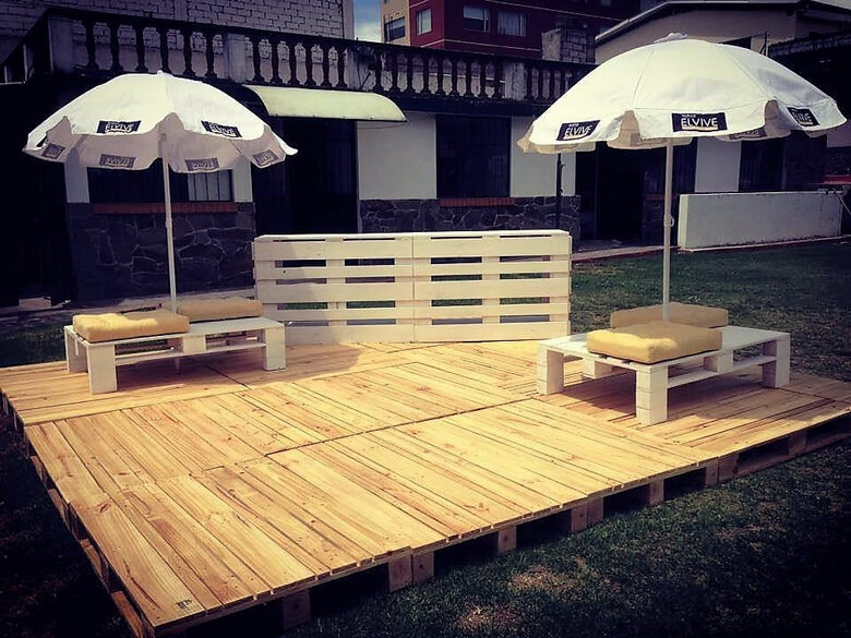 wooden pallet garden terrace idea