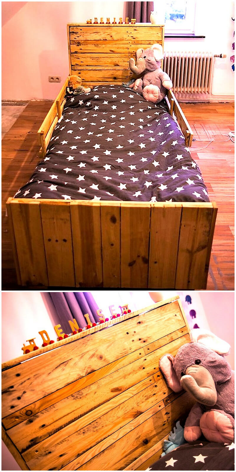 wooden pallet kids bed plan