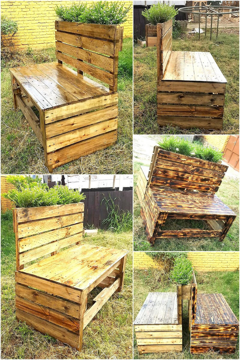 Pallets Garden chair with flower planter
