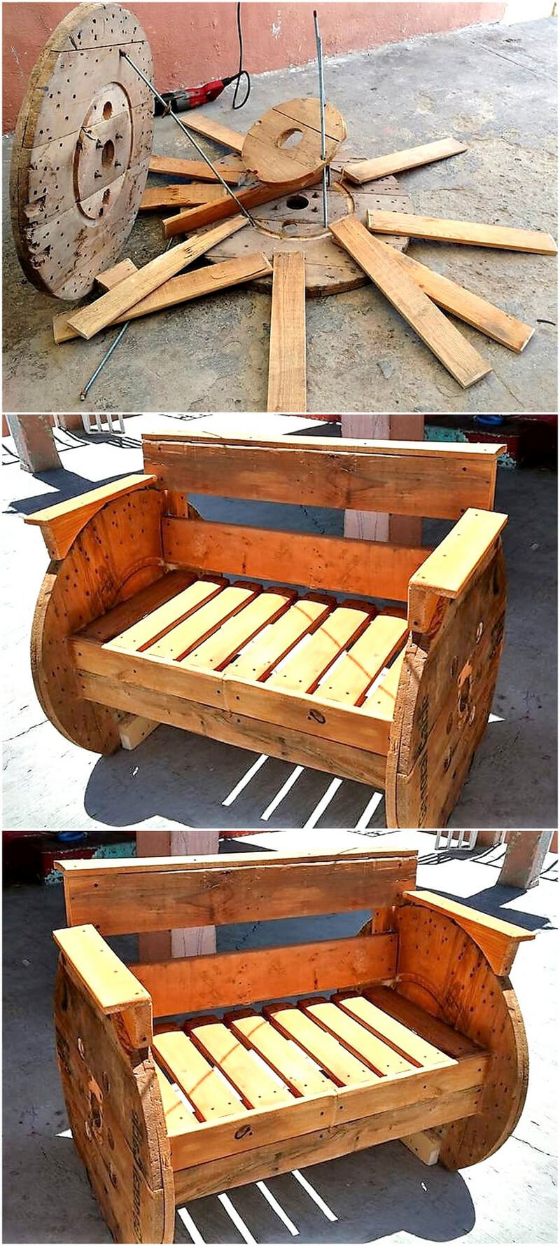 diy pallets cable spool patio bench