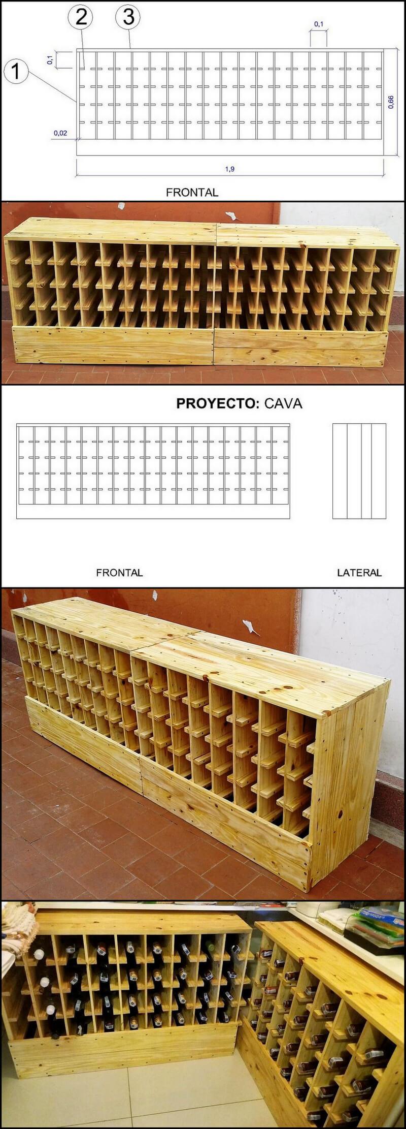 diy wood pallet bottle rack with diagram