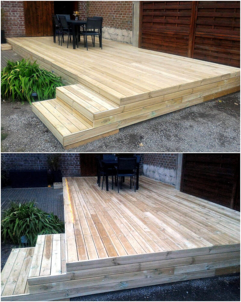 diy wood pallet patio deck final