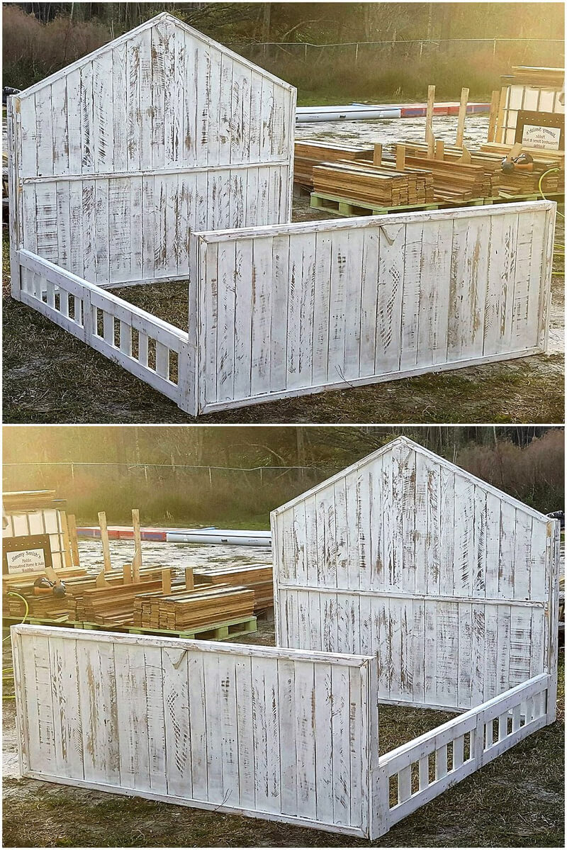 50 easy diy ideas out of wooden pallets pallet ideas for Pallet king bed frame