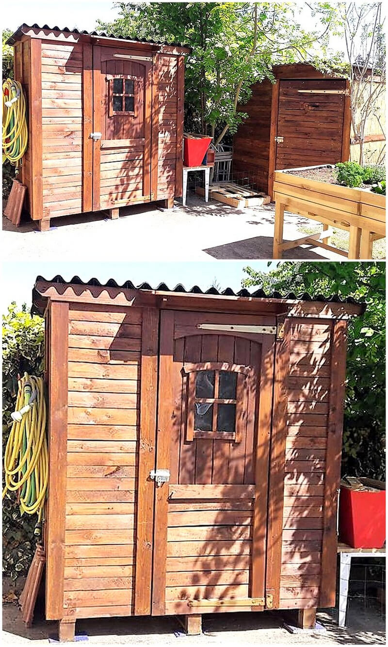 pallets cabin for garden