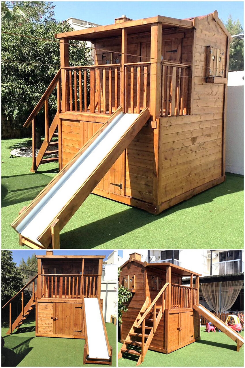 pallets made kids sliding cabin