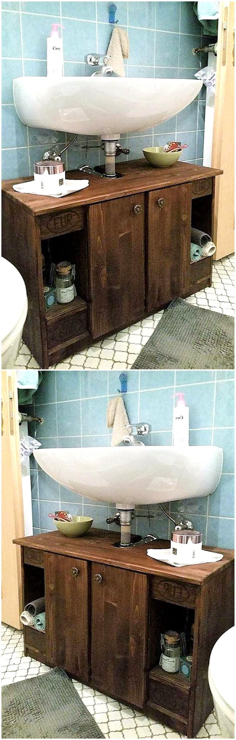 pallets sink cabinet idea
