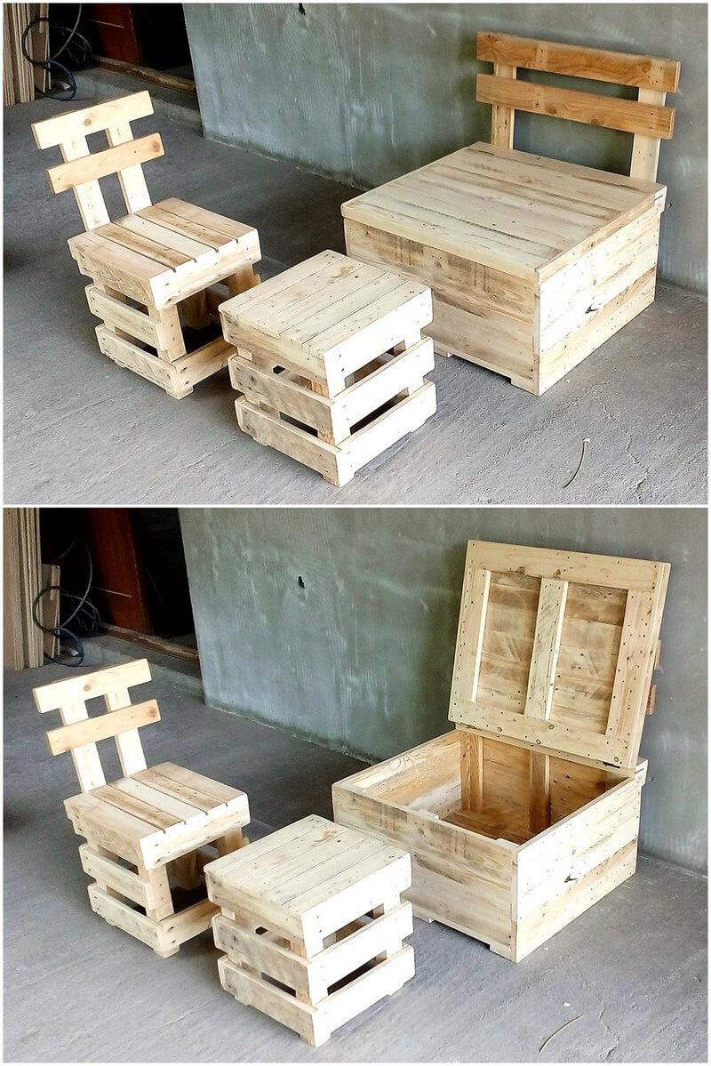 pallets wooden furniture set