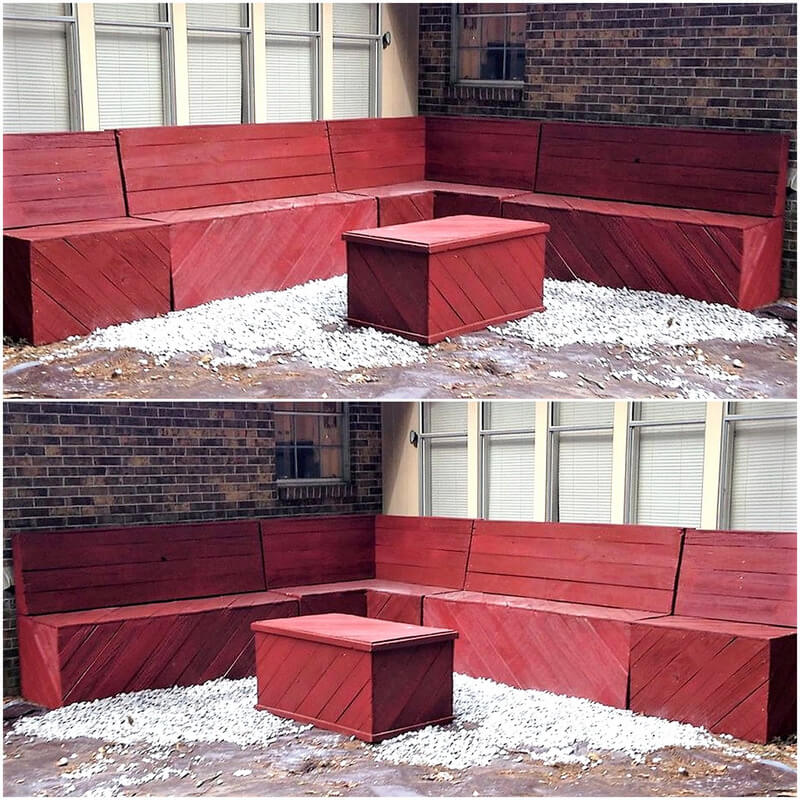 pallets wooden outdoor corner couch