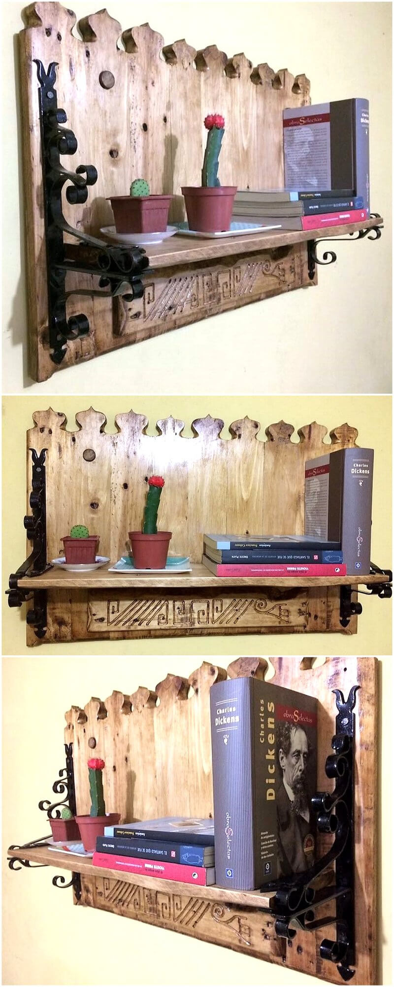 reclaimed pallets artistic shelf