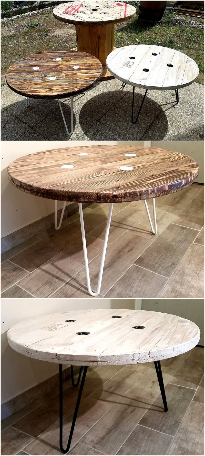 reclaimed pallets cable spool tables