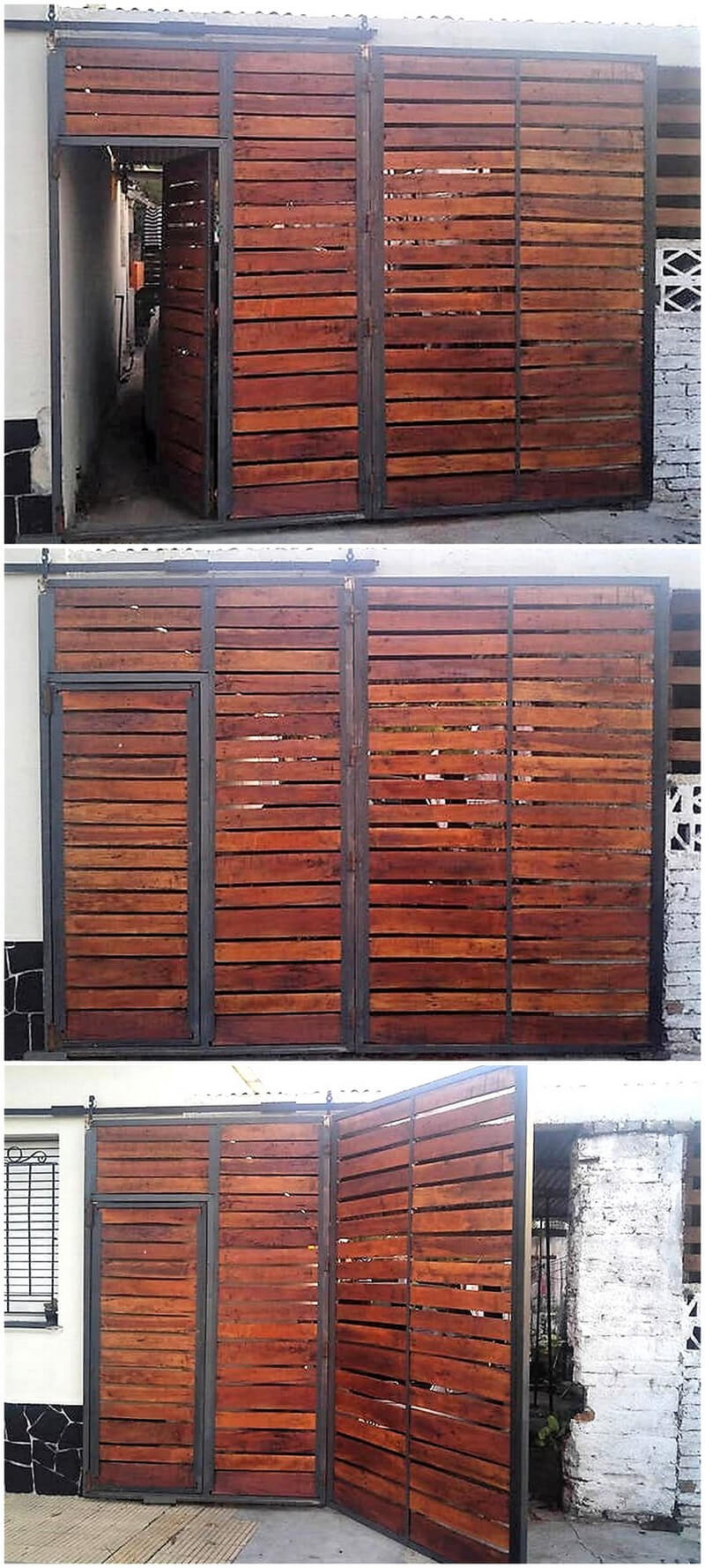 reclaimed pallets folding and sliding gate