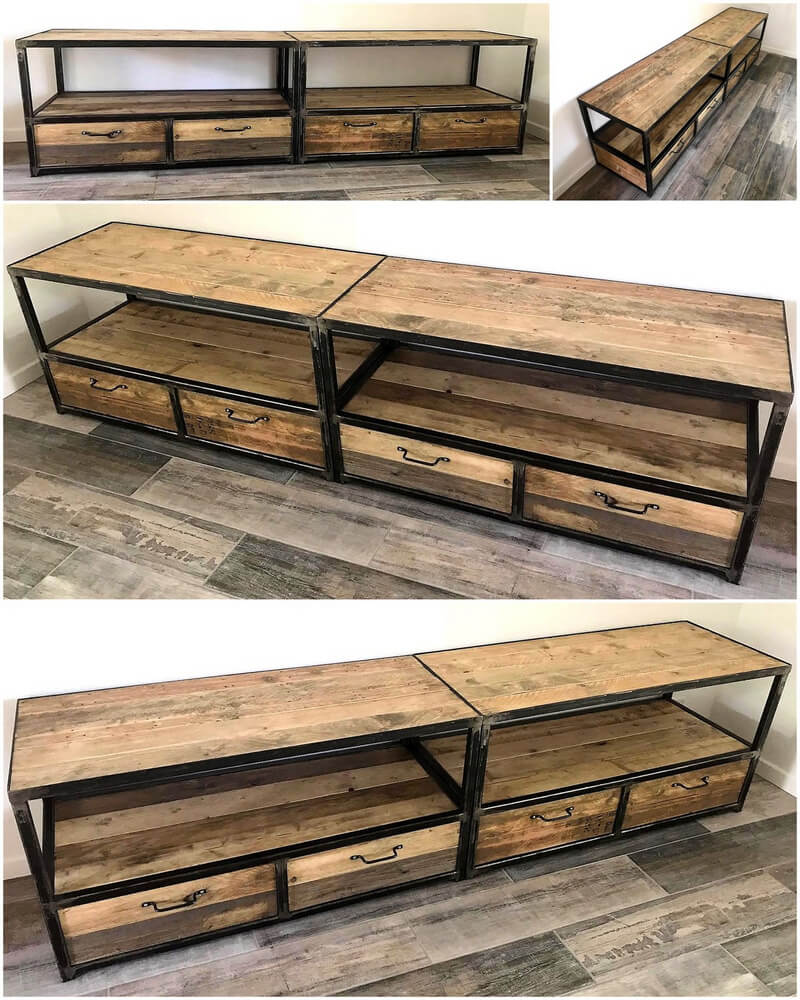 reclaimed wood pallet tv stand with drawers