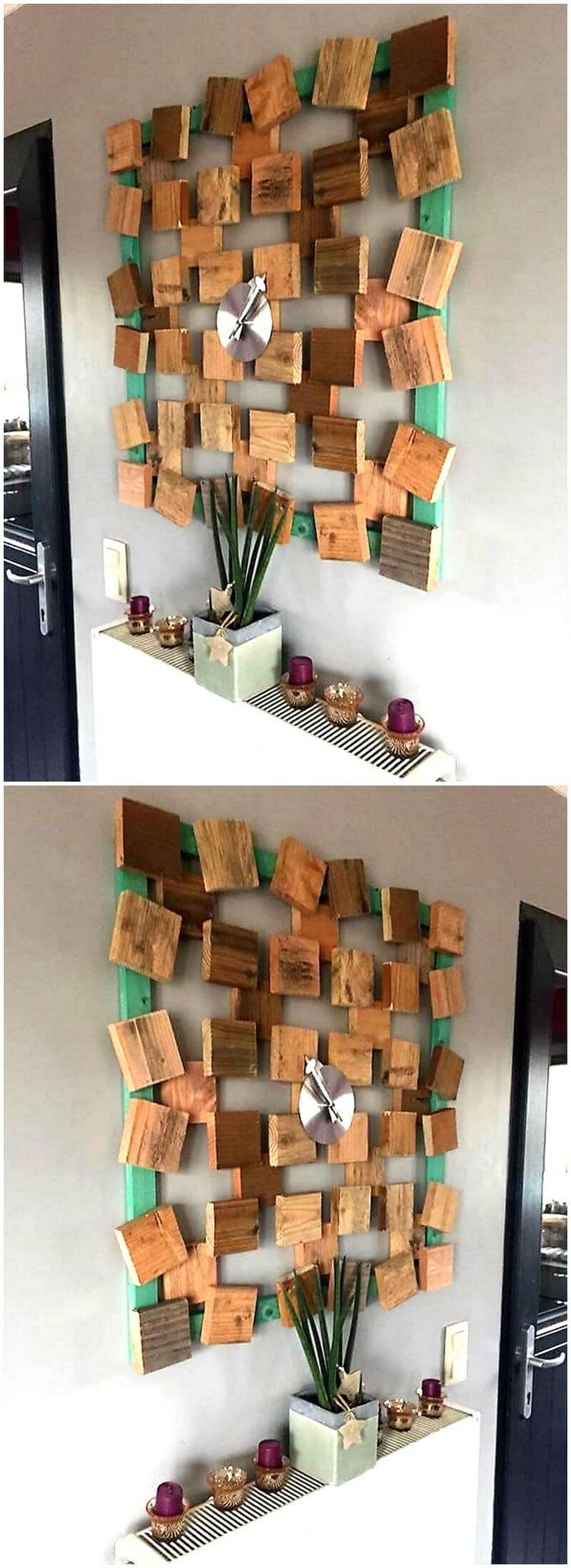 Creative realizations with recycled wooden pallets for Recycled wall art ideas