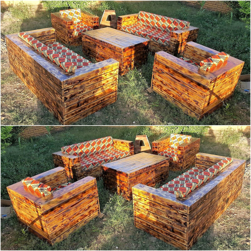 repurposed pallets garden couch set