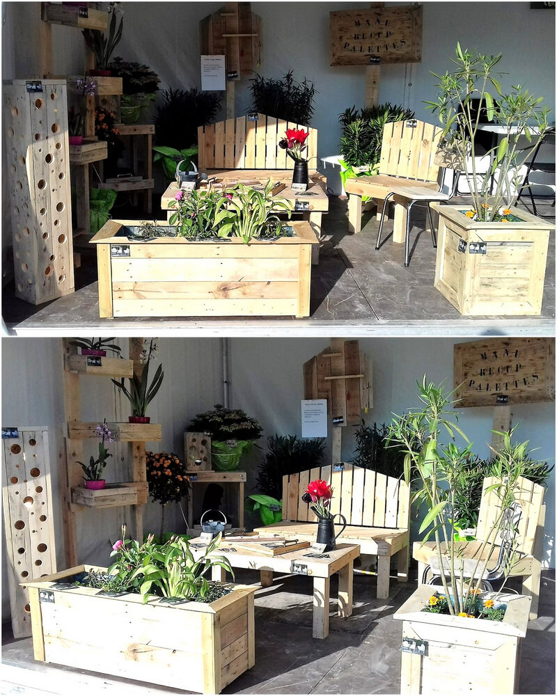 repurposed pallets patio furniture and planters