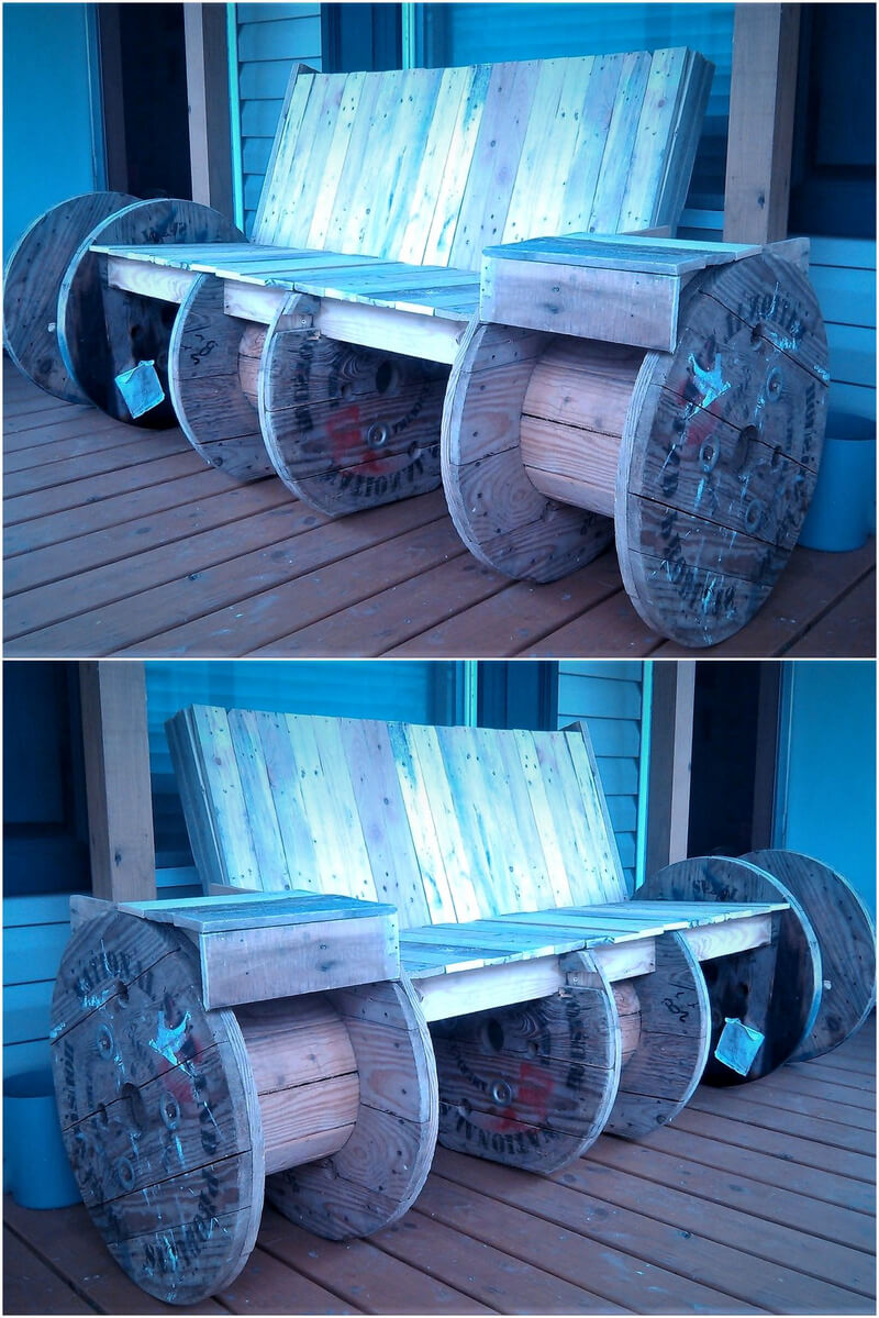 reused pallets and cable reel bench