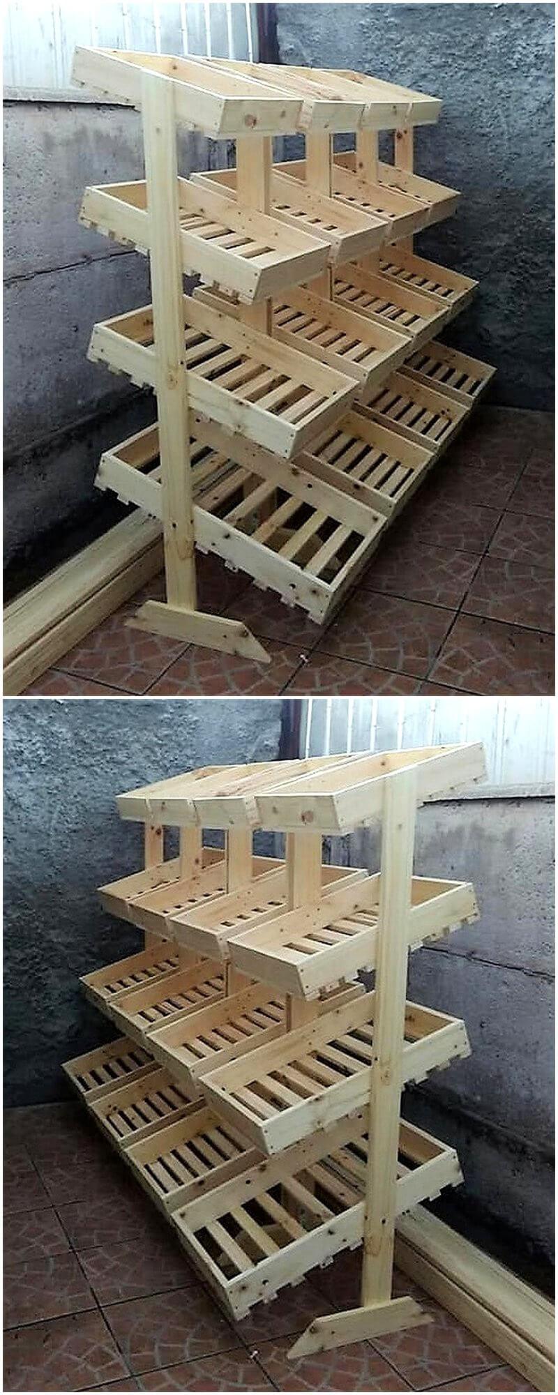 reused wood pallet fruit racks