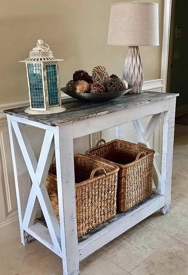 rustic look entryway table