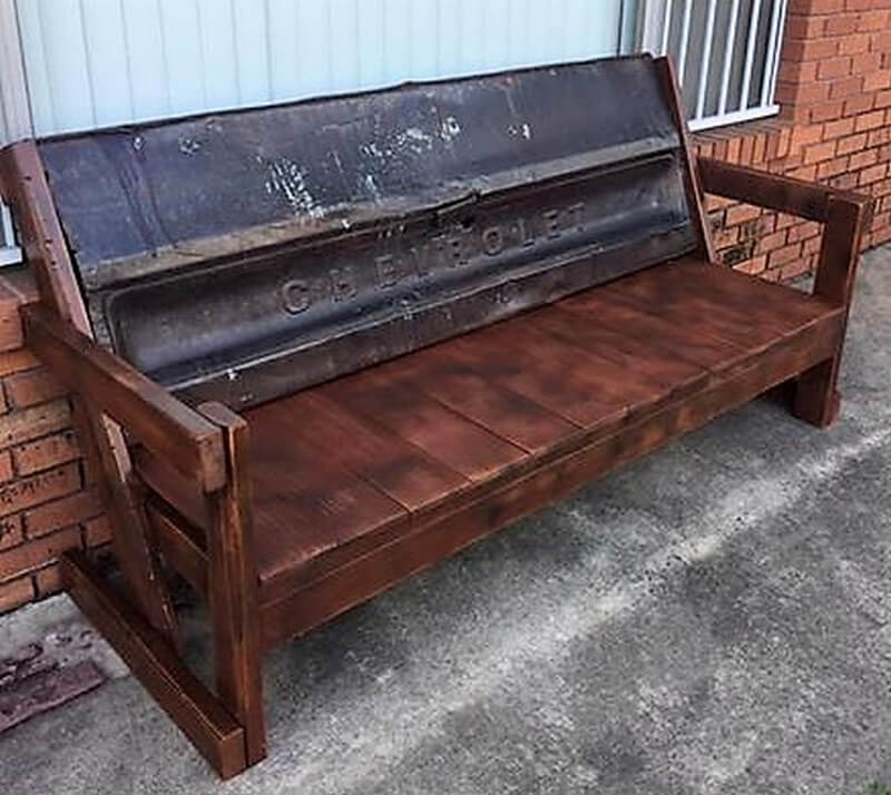 rustic pallet patio bench