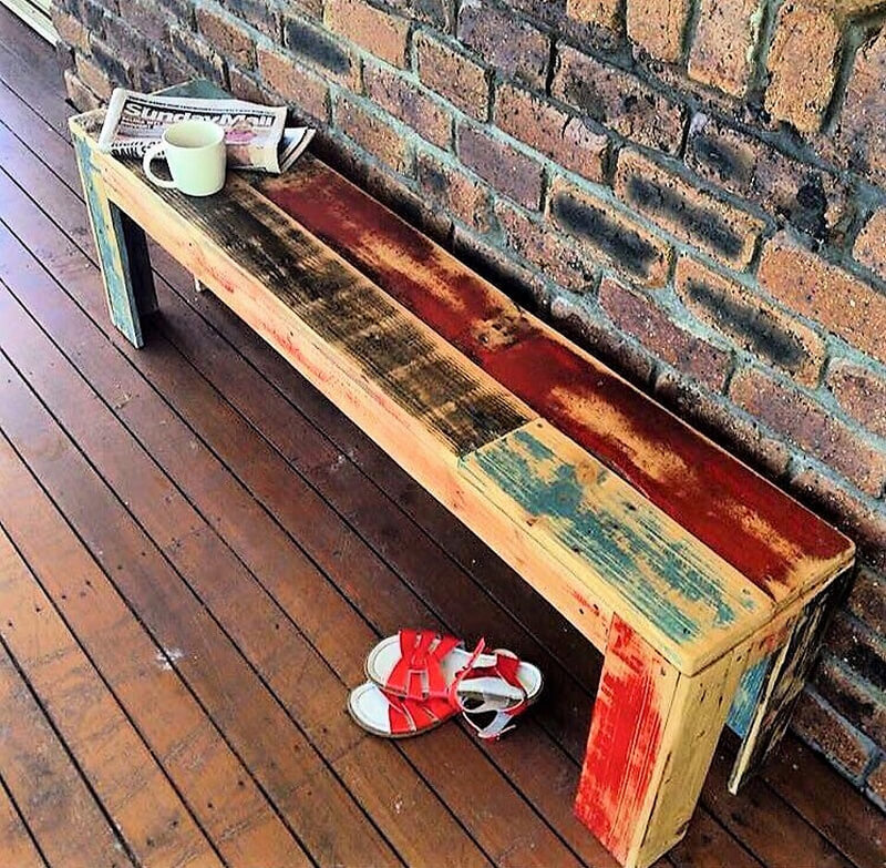 rustic wood pallet bench