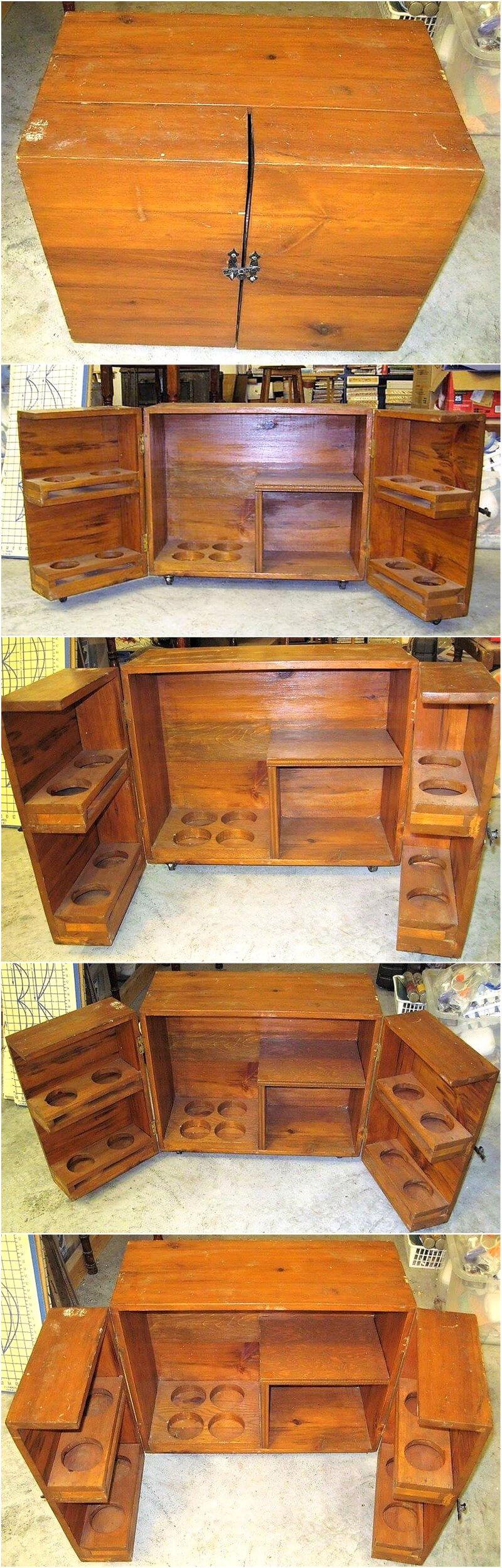 wood pallet bar cabinet