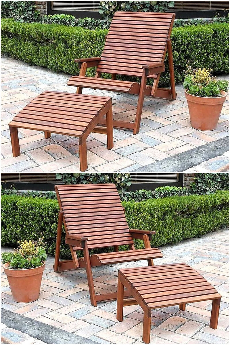 wood pallet patio chair with footrest