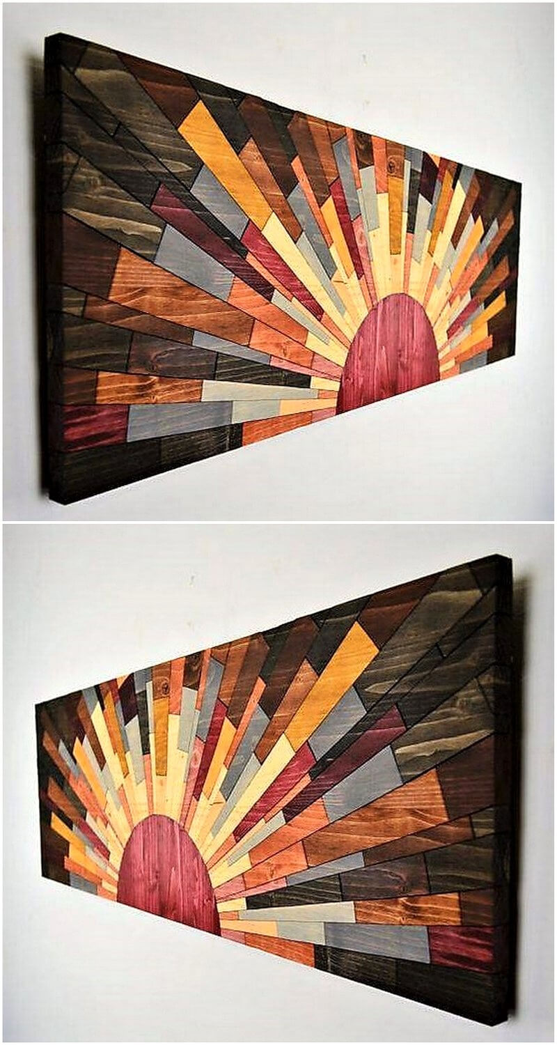 Creative realizations with recycled wooden pallets for Art craft wall hanging
