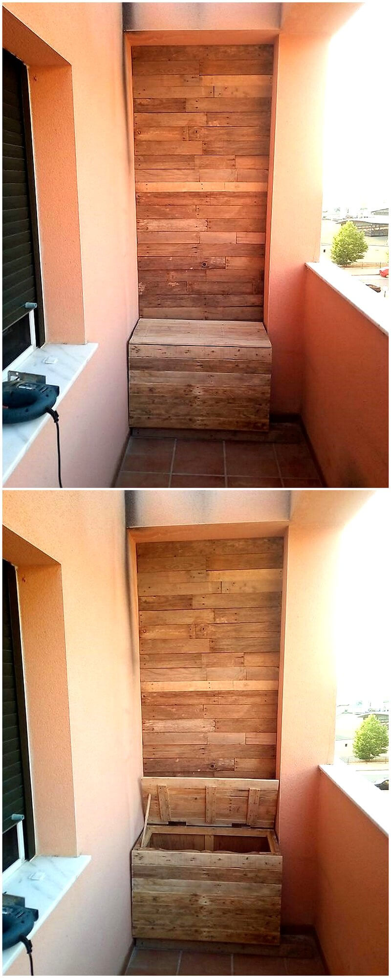 wood pallet wall art with storage box