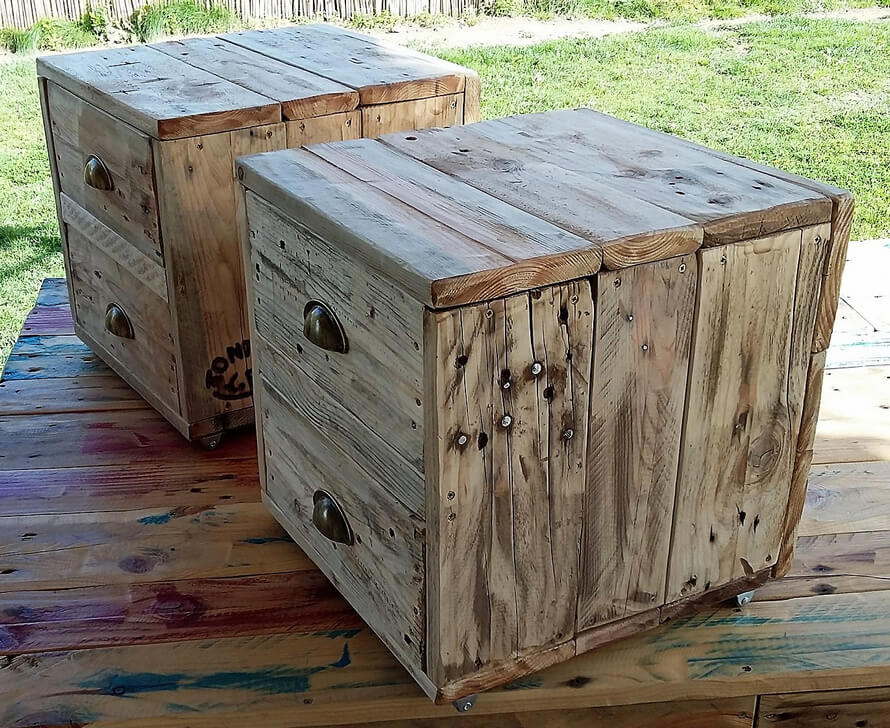 wood pallets rustic night stands