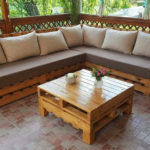 Repurposed Pallets Made Patio Corner Couch