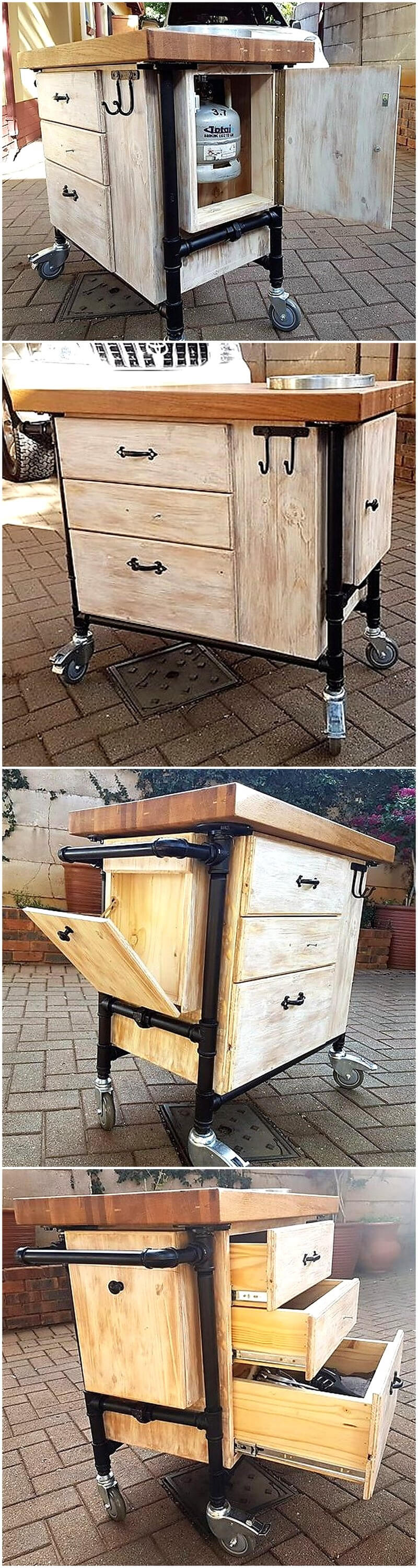 wooden pallets kitchen or patio trolley