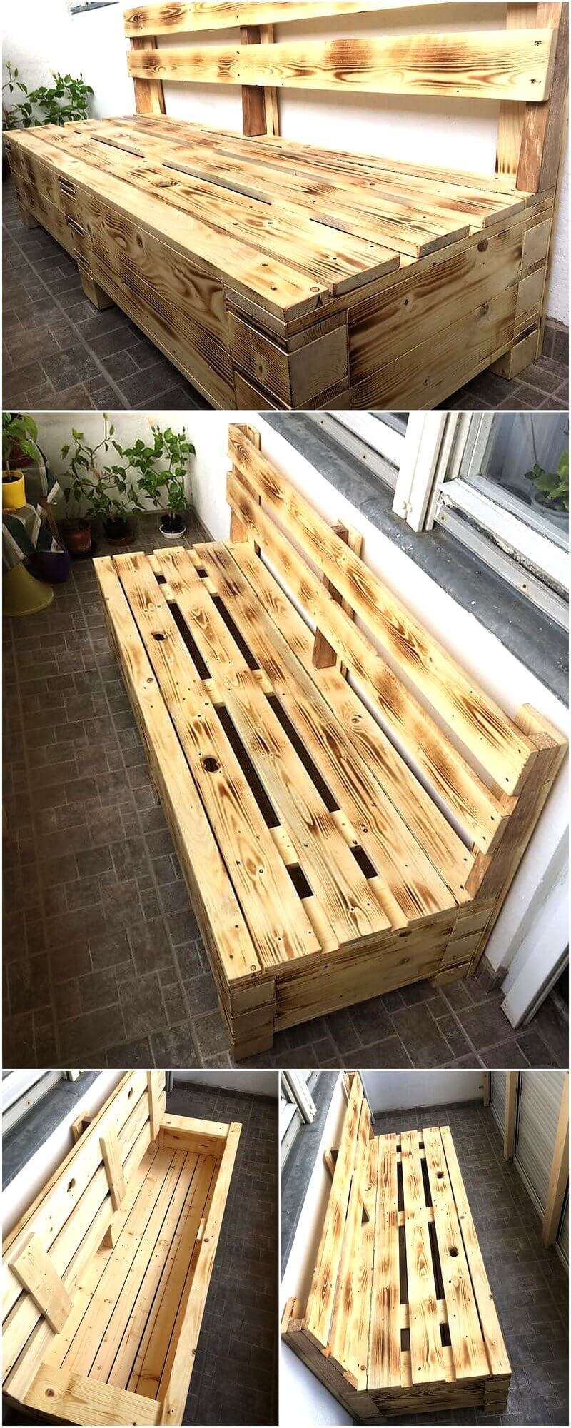Recycled Wooden Pallet Bench with Storage