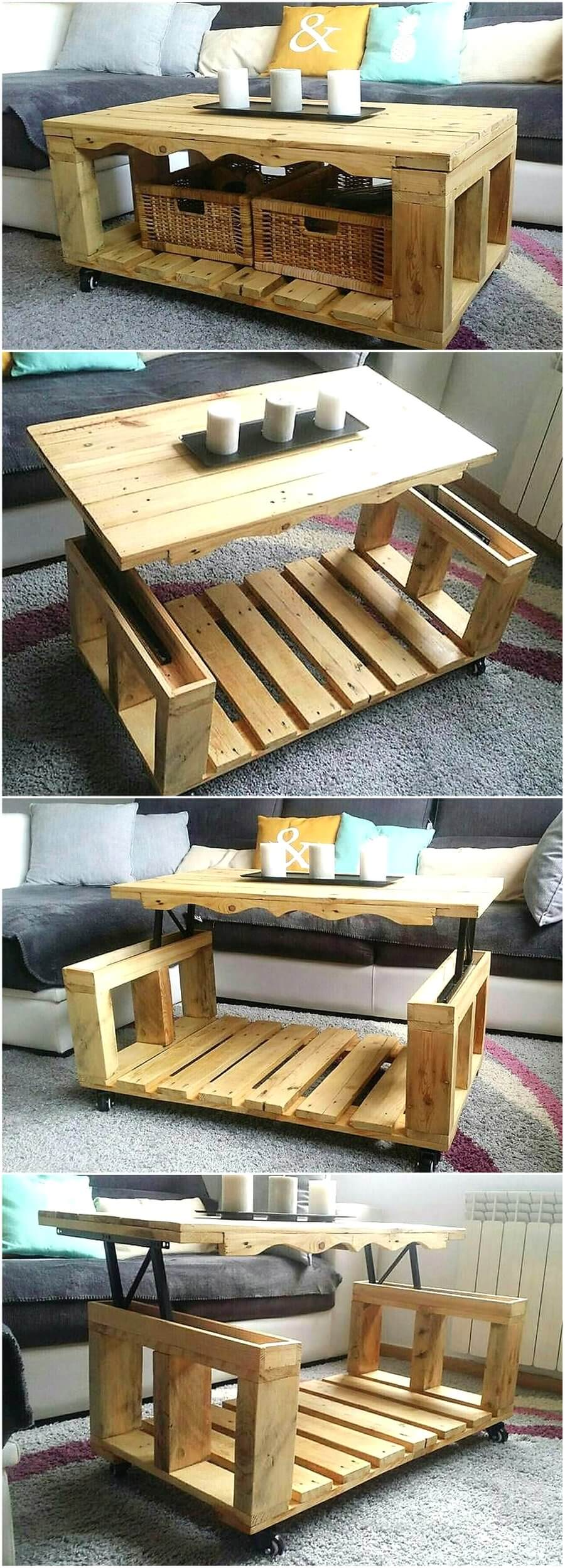 Repurposed wood pallets lift top coffee table pallet ideas repurposed wood pallets lift top coffee table geotapseo Image collections